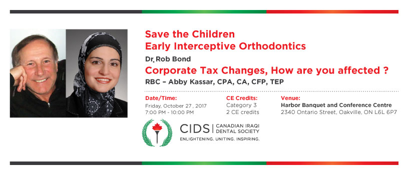 Save the Children - Early Interceptive Orthodontics + Corporate Tax Changes, How are you affected ?